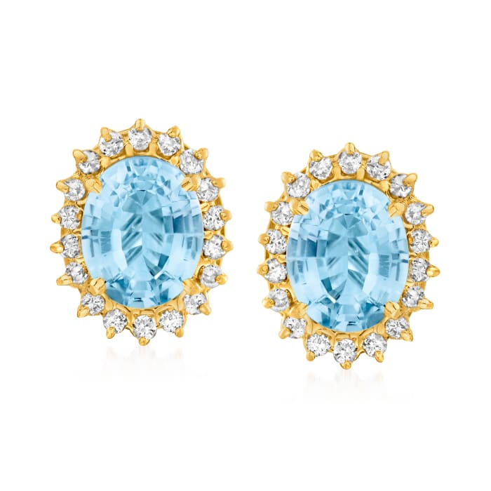 C. 1980 Vintage 11.40 ct. t.w. Sky Blue Topaz and 1.10 ct. t.w. Diamond Earrings in 14kt Yellow Gold