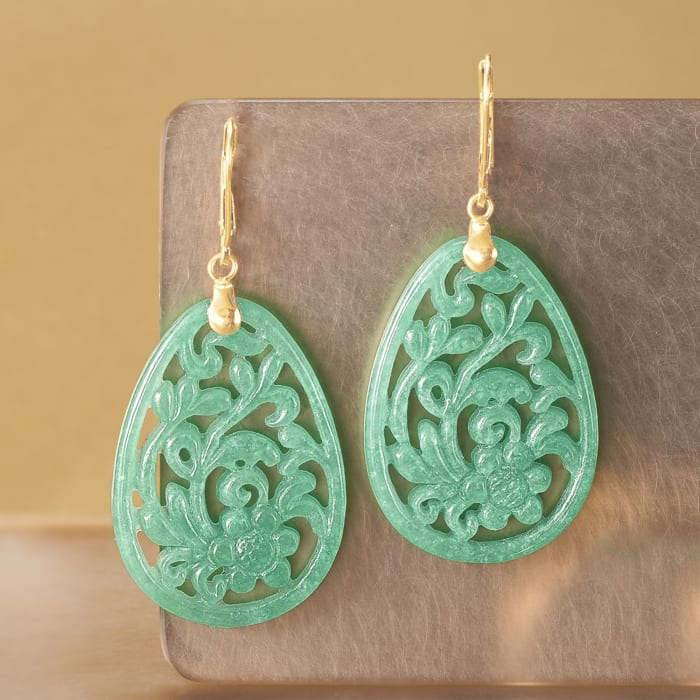 Carved Jade Floral Drop Earrings in 14kt Yellow Gold