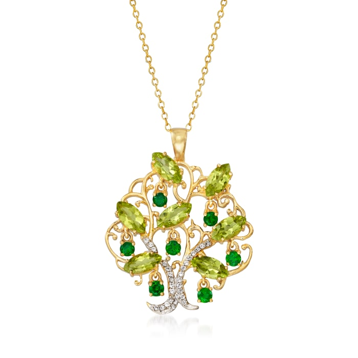 4.90 ct. t.w. Multi-Gemstone Tree of Life Pendant Necklace in 18kt Gold Over Sterling