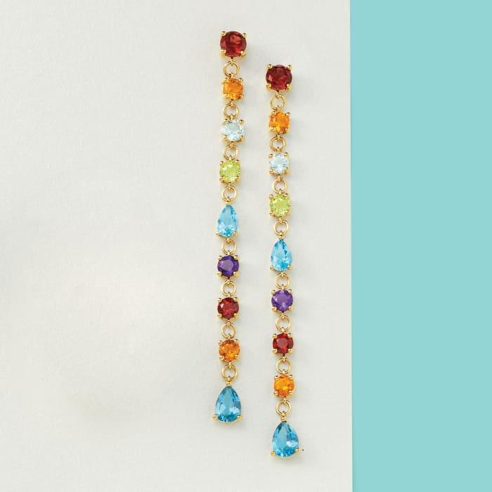 6.90 ct. t.w. Multi-Gemstone Linear Drop Earrings in 18kt Gold Over Sterling