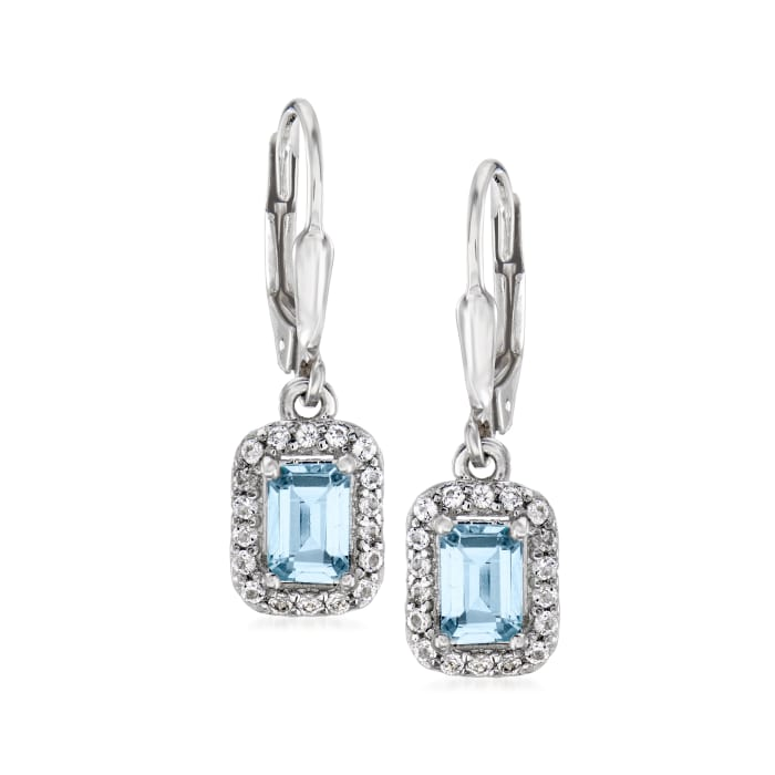 1.10 ct. t.w. Aquamarine and .30 ct. t.w. White Topaz Drop Earrings in Sterling Silver