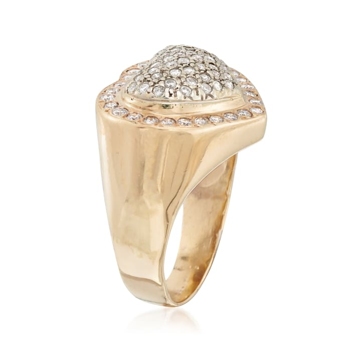 C. 1980 Vintage 1.30 ct. t.w. Diamond Heart Ring in 14kt Yellow Gold