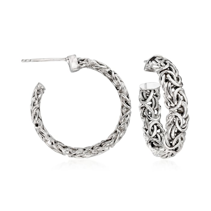 Sterling Silver Byzantine C-Hoop Earrings