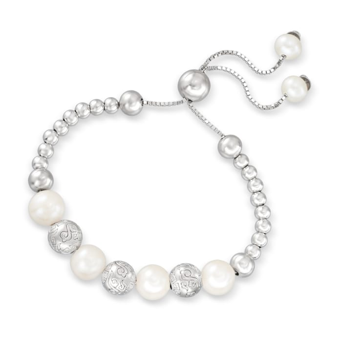 6-10.5mm Cultured Pearl and Sterling Silver Bead Bolo Bracelet