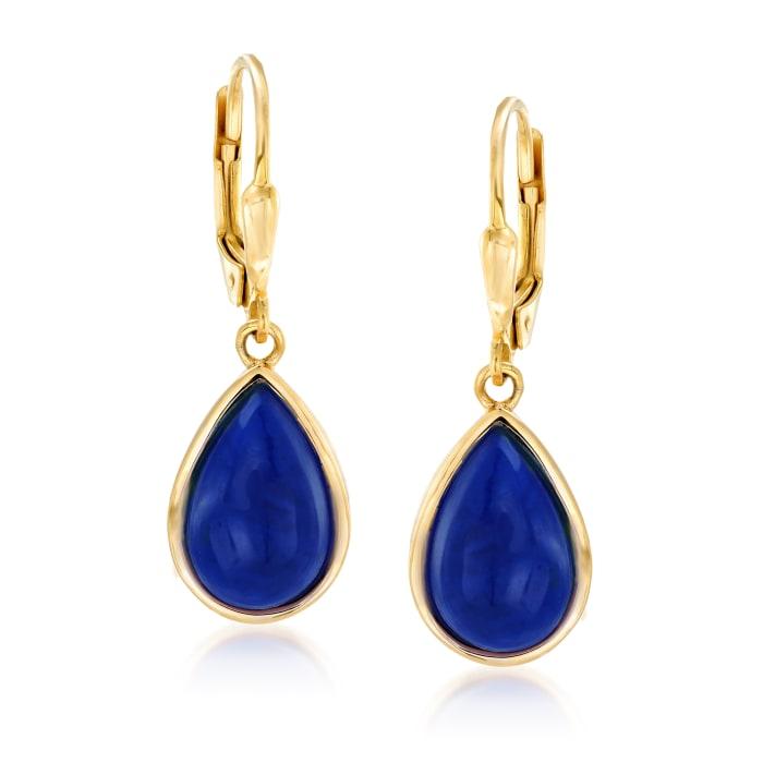 Lapis Teardrop Earrings in 18kt Gold Over Sterling