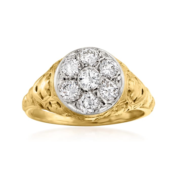 C. 1980 Vintage .80 ct. t.w. Diamond Basketweave Ring in 18kt Two-Tone Gold