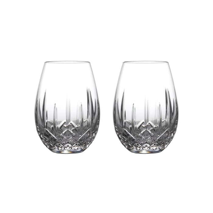 """Waterford Crystal """"Nouveau"""" Set of 2 Lismore Stemless Glasses for Light Red Wine"""