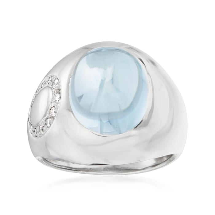 C. 1990 Vintage 7.20 Carat Swiss Blue Topaz Ring with Diamond Accents in 18kt White Gold