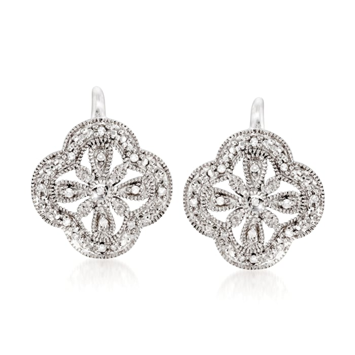 Openwork Clover Drop Earrings with Diamond Accents in Sterling Silver