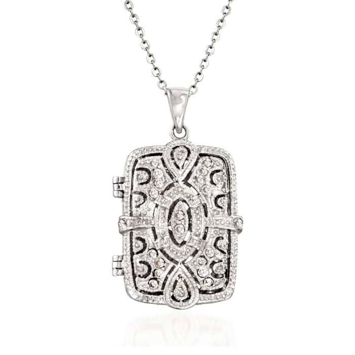 .30 ct. t.w. CZ Filigree Locket Necklace in Sterling Silver
