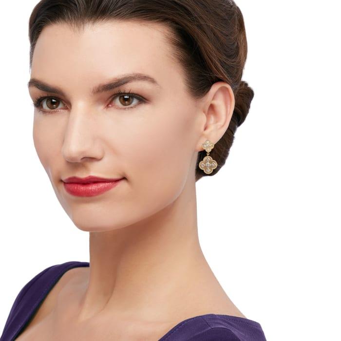 14kt Two-Tone Gold Clover Drop Earrings