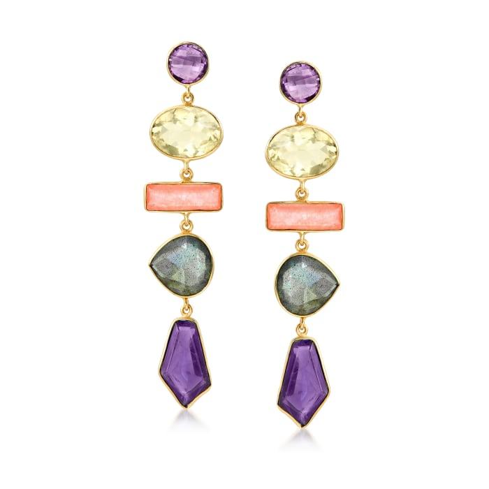 29.00 ct. t.w. Multi-Gemstone Drop Earrings in 18kt Gold Over Sterling