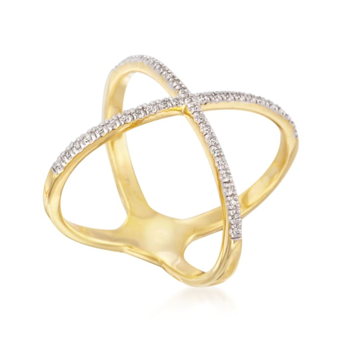 .14 ct. t.w. Diamond Crisscross Ring in 14kt Gold Over Sterling