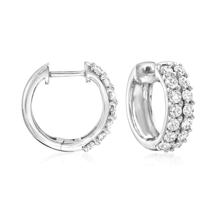 1.00 ct. t.w. Diamond Huggie Hoop Earrings in Sterling Silver