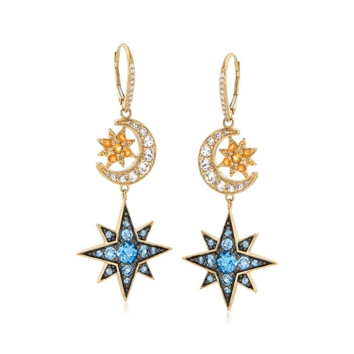 5.10 ct. t.w. Multi-Gemstone Celestial Drop Earrings in 18kt Gold Over Sterling