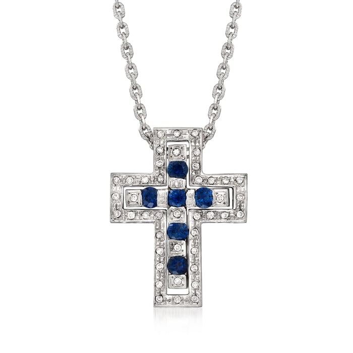 C. 1990 Vintage .75 ct. t.w. Sapphire and .24 ct. t.w. Diamond Cross Pendant Necklace in 18kt White Gold
