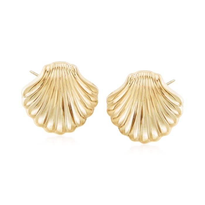 14kt Yellow Gold Scallop Seashell Motif Earrings