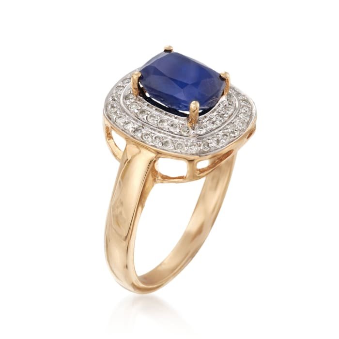 1.90 Carat Sapphire and .31 ct. t.w. Diamond Ring in 14kt Yellow Gold