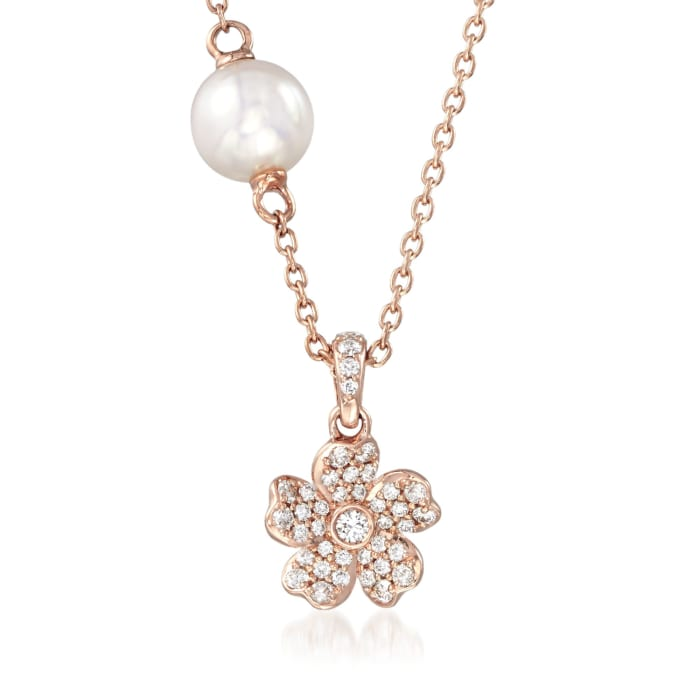 """Mikimoto """"Cherry Blossom"""" 5.5mm A+ Akoya Pearl and .13 ct. t.w. Diamond Floral Necklace in 18kt Rose Gold"""