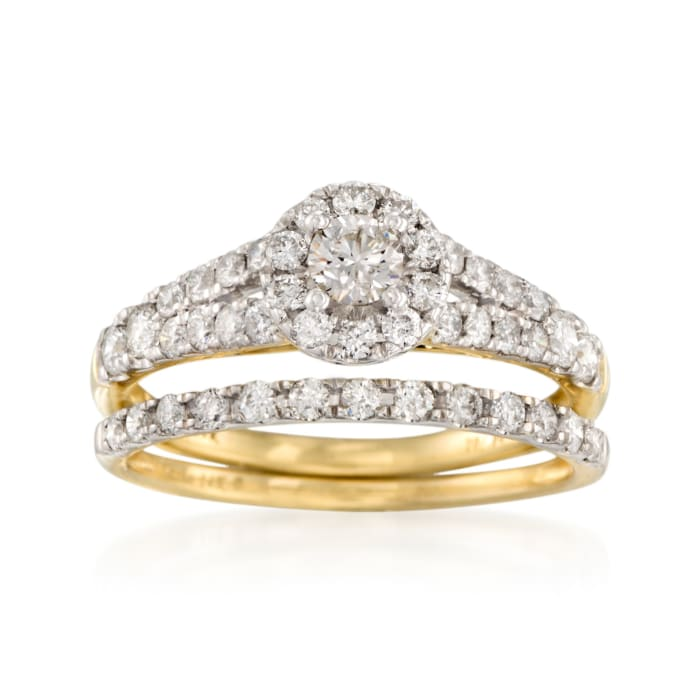 1.00 ct. t.w. Diamond Bridal Set: Engagement and Wedding Rings in 14kt Yellow Gold