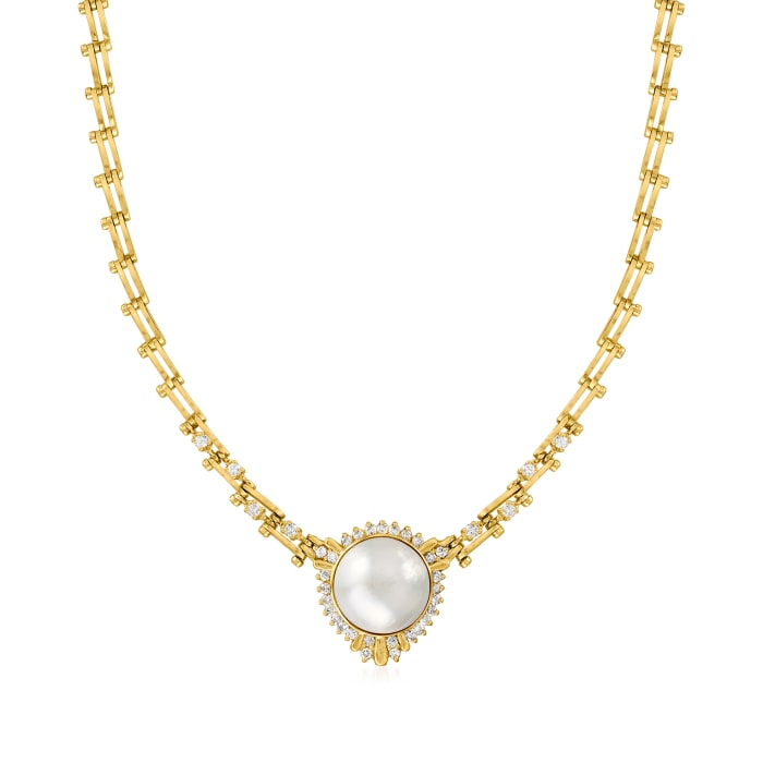 C. 1980 Vintage 18.5mm Cultured Mabe Pearl and 2.35 ct. t.w. Diamond Necklace in 14kt Yellow Gold