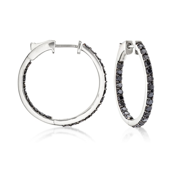 2.00 ct. t.w. Black Diamond Inside-Outside Hoop Earrings in 14kt White Gold