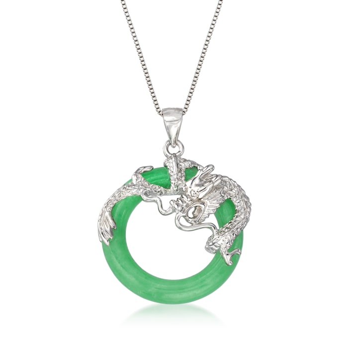 Jade Dragon Open-Space Pendant Necklace in Sterling Silver
