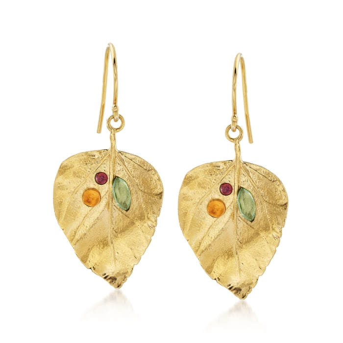 1.40 ct. t.w. Multi-Stone Leaf Drop Earrings in 18kt Yellow Gold Over Sterling