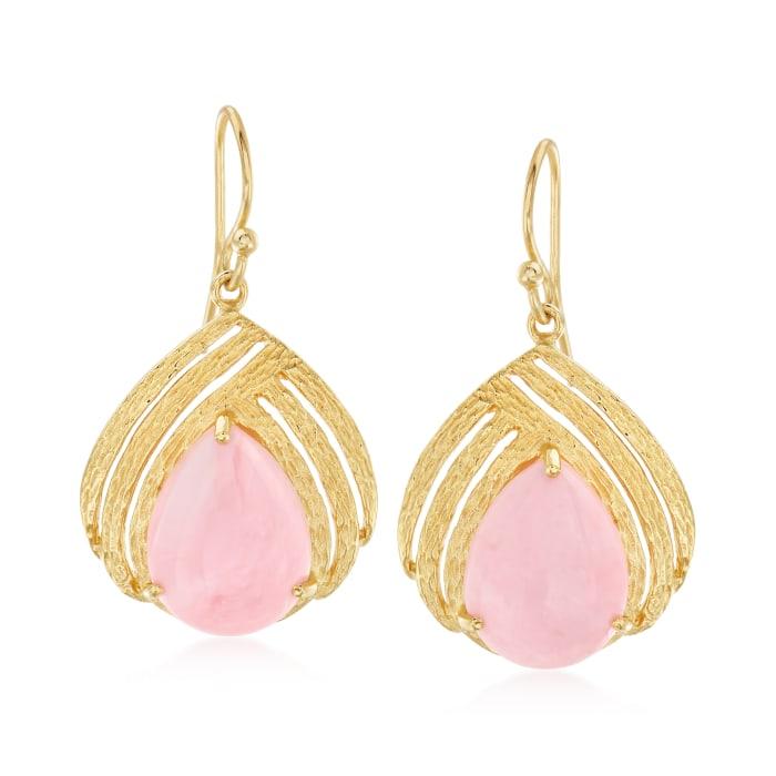 Pink Opal Drop Earrings in 18kt Gold Over Sterling