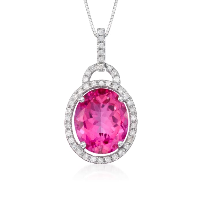 6.25 Carat Pink Topaz Pendant Necklace with .20 ct. t.w. Diamonds in 14kt White Gold