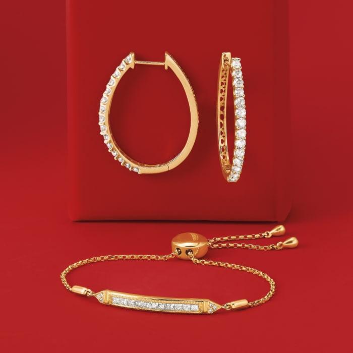 2.00 ct. t.w. Diamond Oval Hoop Earrings in 14kt Yellow Gold