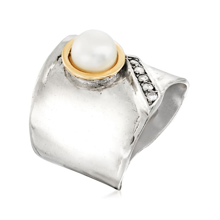 Diamond-Accented 7mm Cultured Pearl Ring in Sterling Silver with 14kt Yellow Gold
