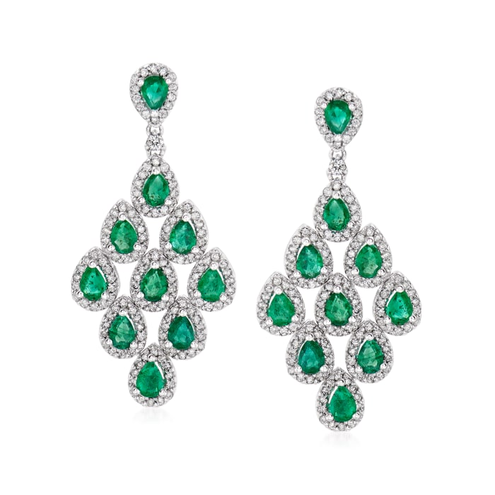 3.00 ct. t.w. Emerald and 1.46 ct. t.w. Diamond Drop Earrings in 14kt White Gold