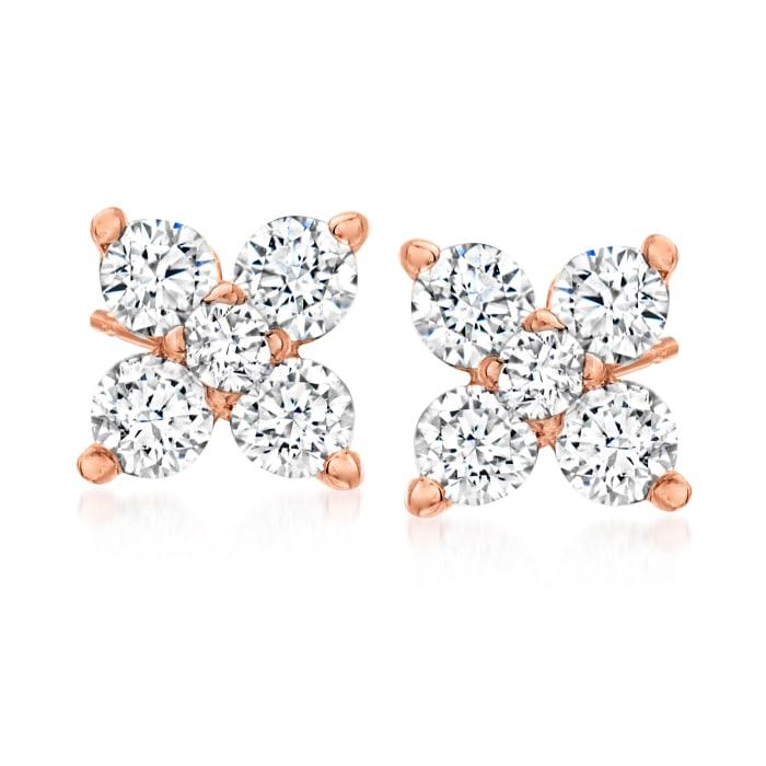 .30 ct. t.w. Diamond Quad Stud Earrings in 14kt Rose Gold