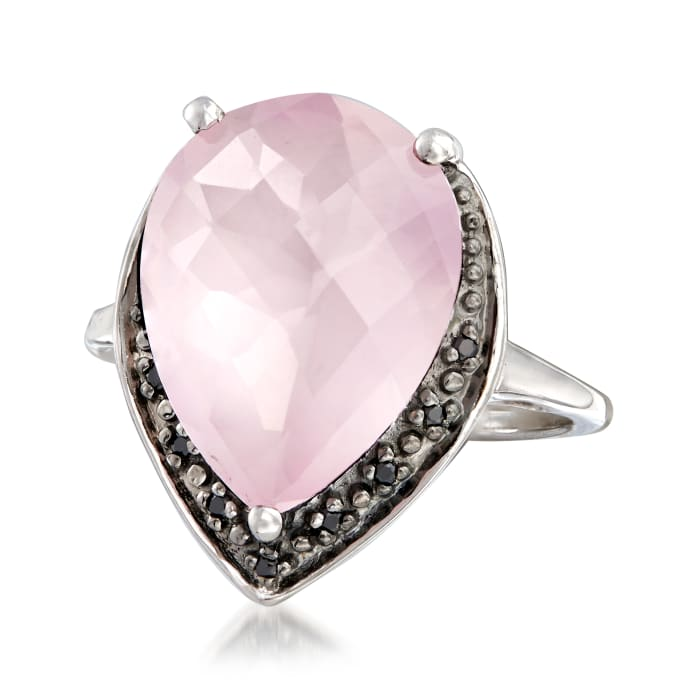 6.25 Carat Rose Quartz Pear-Shaped Ring with Black Spinel Accents in Sterling Silver