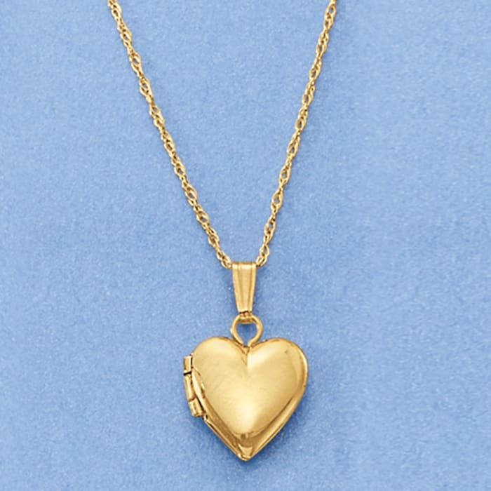 Baby's 14kt Yellow Gold Single-Initial Heart Locket Necklace