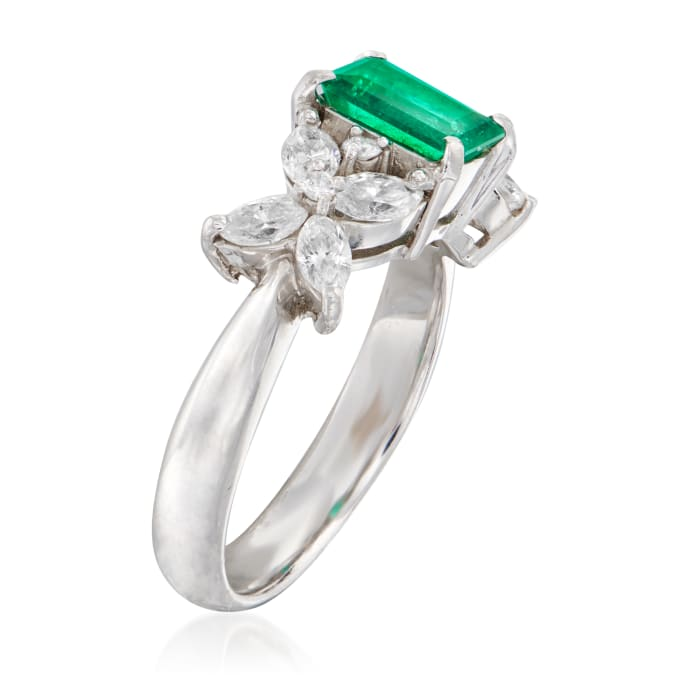 C. 1980 Vintage .75 Carat Emerald and .80 ct. t.w. Diamond Ring in Platinum