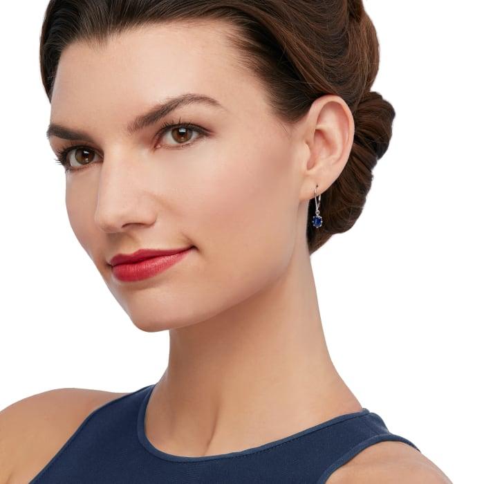 2.00 ct. t.w. Sapphire Drop Earrings in 14kt White Gold