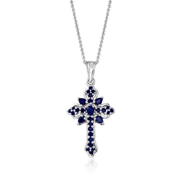 1.42 ct. t.w. Sapphire Cross Pendant Necklace in Sterling Silver