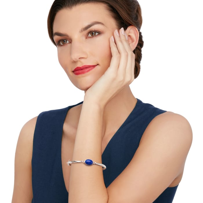 Bezel-Set Lapis Bangle Bracelet in Sterling Silver