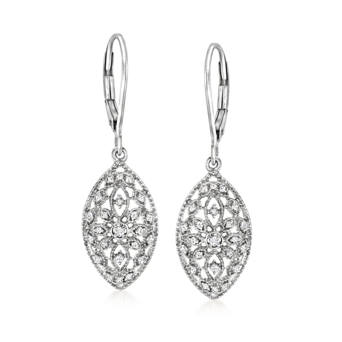 .10 ct. t.w. Diamond Floral Openwork Marquise Drop Earrings in Sterling Silver