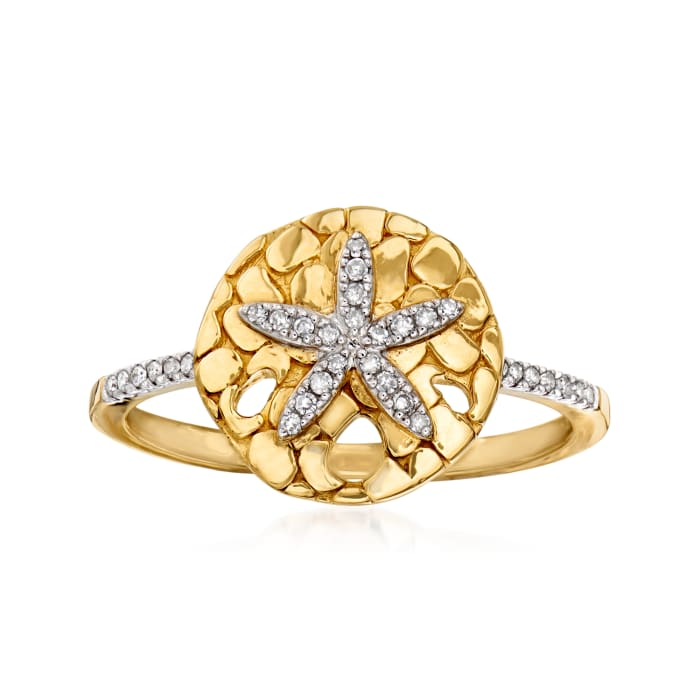 .10 ct. t.w. Diamond Starfish Ring in 18kt Gold Over Sterling