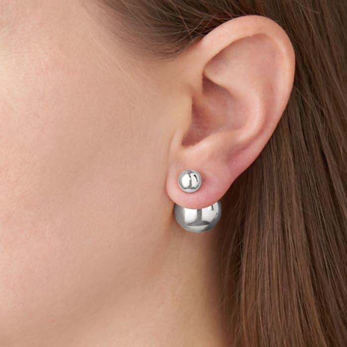 Italian 8-16mm Sterling Silver Bead Front-Back Earrings