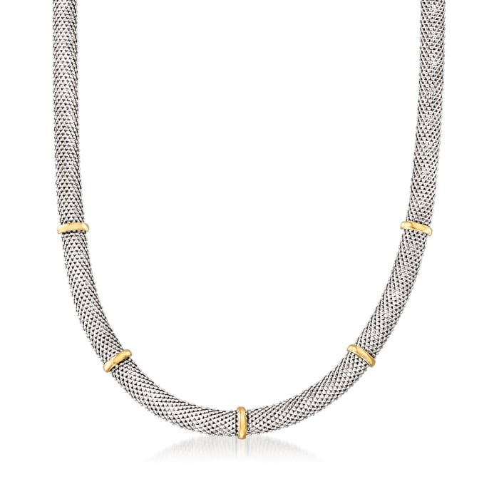 Sterling Silver with 14kt Yellow Gold Popcorn-Link Station Necklace