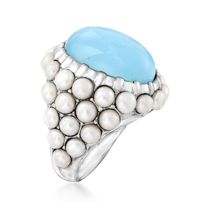 Cultured Pearl and 8.50 Carat Aquamarine Ring in Sterling Silver