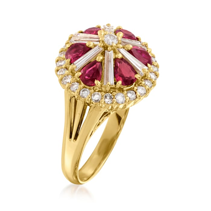 C. 1980 Vintage 1.51 ct. t.w. Ruby and 1.16 ct. t.w. Diamond Ring in 18kt Yellow Gold