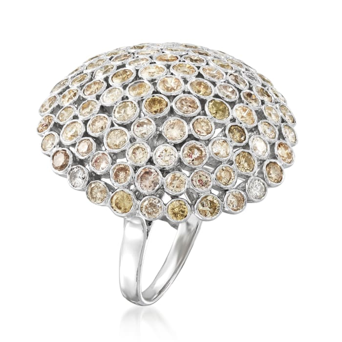 C. 1980 Vintage 4.62 ct. t.w. Yellow Diamond Fashion Ring in 18kt White Gold