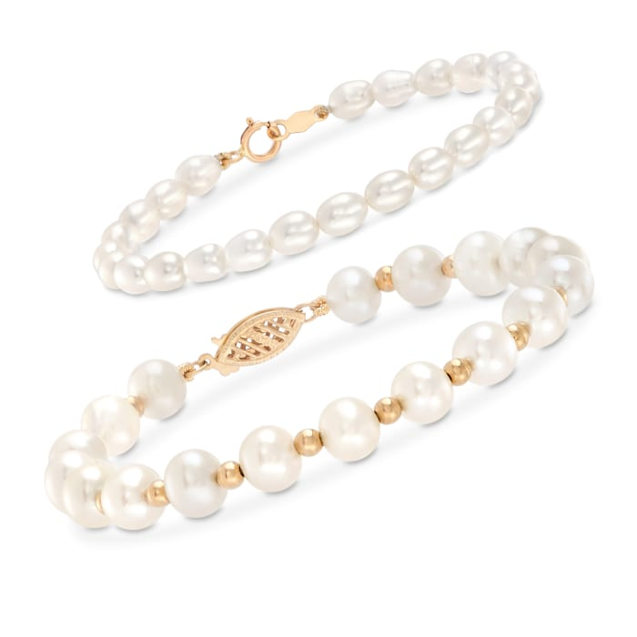 Mom & Me 4-7mm Cultured Pearl Bracelet Set of 2 in 14kt Yellow Gold