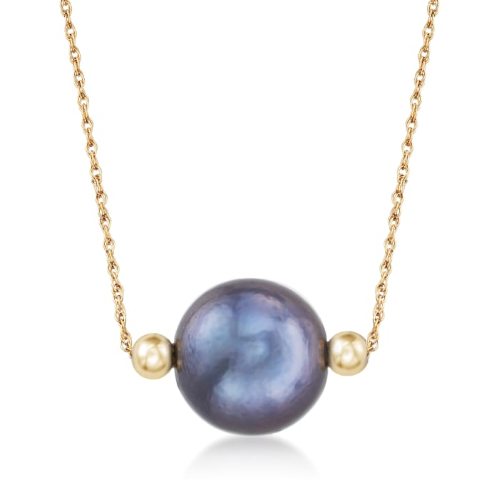 13-14mm Cultured Black Pearl Necklace in 14kt Yellow Gold