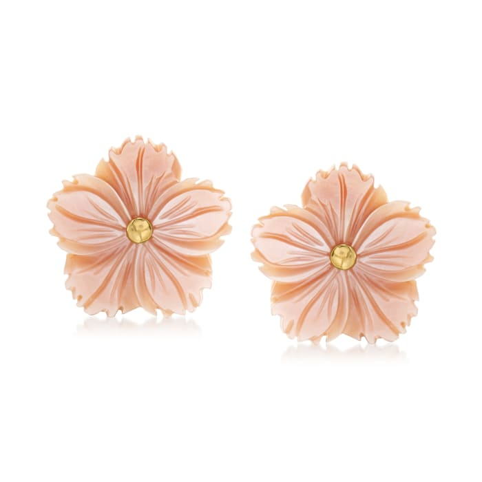 Italian Pink Mother-Of-Pearl Flower Earrings